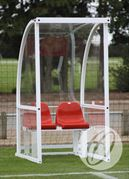 1m Socketed Curved Officials Shelter c/w Red Seat